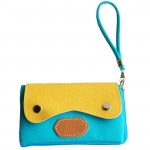 Blancho  Colorful Leatherette Mobile Phone Pouch Cell Phone Case Clutch Pouch - Sweet Orange