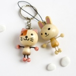 Blancho  - Cell Phone Charm Strap / Camera Charm Strap  - Cat & Rabbit