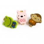 Blancho  - Wooden Clips / Wooden Clamps  - Smile Animals-C