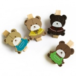 Blancho  - Wooden Clips / Wooden Clamps  - Lovely Bear