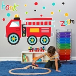 BuySeasons Fire Truck Giant Wall Decal