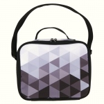 BuySeasons Black & White Fractal Canvas Lunch Tote