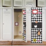 BuySeasons Black & White Plaid  Locker Decal
