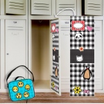 BuySeasons Black & White Plaid Locker Decal & Emoji Patches