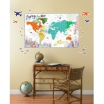 BuySeasons Multi Color Map Giant Wall Decal