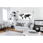 BuySeasons Black & White Plaid Map Giant Wall Decal