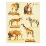 Edushape® Wodden Knobs Puzzle: Wild Animals