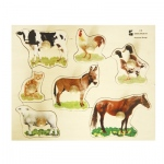 Edushape® Wodden Knobs Puzzle: Farm Animals