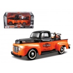 1948 Ford F-1 Pickup Truck Harley Davidson With 1948 FL Panhead Motorcycle Orange/Black 1/24 by Maisto