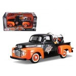 1948 Ford F-1 Pickup Truck Orange/Black with 1958 FLH Duo Glide Harley Davidson Motorcycle 1/24 by Maisto
