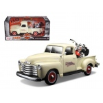 1950 Chevrolet 3100 Pickup Truck Harley Davidson 1/25 With 2001 FLSTS Heritage Springer Motorcycle 1/24 Diecast Model by Maisto