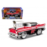 "1957 Chevrolet Bel Air ""Muscle Machines"" Red/Black 1/24 Diecast Model Car by Maisto"