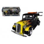 1937 Ford Tow Truck Black with Flames 1/24 Diecast Model by Motormax