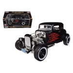 1932 Ford Hot Rod Matt Black with Flames Limited Edition / Platinum Collection 1/18 Diecast Model Car by Motormax