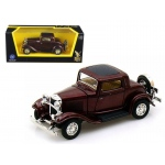1932 Ford 3 Window Coupe Burgundy 1/43 Diecast Car Model by Road Signature