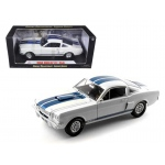 1966 Ford Shelby Mustang GT 350 White with Blue Stripes 1/18 Diecast Car Model by Shelby Collectibles