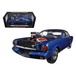 1965 Ford Shelby Mustang GT350R With Racing Engine Blue With Black Stripes 1/18 Diecast Car Model by Shelby Collectibles