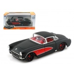 1957 Chevrolet Corvette Hard Top Primered Black With Red 1/24 Diecast Model Car by Jada