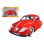 1959 Volkswagen Beetle Red with Baby Moon Wheels 1/24 Diecast Model Car by Jada