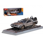 "Delorean From Movie ""Back To The Future 3"" Railroad Time Machine 1/18 Diecast Model Car by Sunstar"