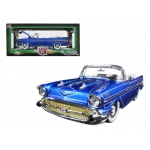 "1957 Chevrolet Bel Air Convertible Satin Blue with White ""Tom Kelly Special Edition"" 1/24 Diecast Model Car by M2 Machines"