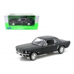 1964 1/2 Ford Mustang Hard Top Black 1/24 Diecast Car Model by Welly