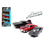 """Fast and Furious"" Dom's Rides Dodge Chargers and Chevelle 3 Pack Set 1/55 Diecast Model Cars by Jada"