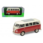 1963 Volkswagen Microbus T1 Bus Red 1/18 Diecast Model Car by Welly