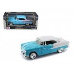 1955 Chevrolet Bel Air Blue with Silver 1/24 Diecast Car Model by Motormax