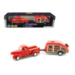 1940 Ford Pickup Truck Red with Tear Drop Trailer 1/24 Diecast Model by Motormax