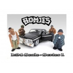 """Homies"" Figure Set of 4pc For 1:24 Scale Diecast Model Cars by American Diorama"