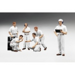 F1 Pit Crew Figures Classic Style Blank White Set of 6pc 1/18 by True Scale Miniatures