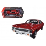 1969 Chevrolet Nova SS 427 Garnet Red Baldwin Motion Limited Edition to 1002pc 1/18 Diecast Model Car by Autoworld