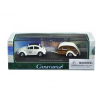 Volkswagen Beetle #53 with Caravan III Trailer in Display Showcase 1/72 Diecast Model Car by Cararama