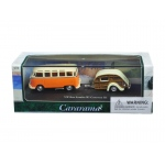 Volkswagen Bus Samba Orange with Caravan III Trailer in Display Showcase 1/72 Diecast Car Model by Cararama