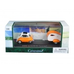 BMW Isetta 250 Orange with Caravan I Trailer and Display Case 1/43 Diecast Car Model by Cararama