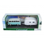 Volkswagen Bus Samba with Caravan II Trailer in Display Case 1/43 Diecast Car Model by Cararama