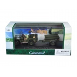 1/4 Ton Military Army Vehicle with Trailer and Display Case 1/43 Diecast Model Car by Cararama