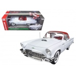 1957 Ford Thunderbird Convertible White 2016 Christmas Edition Issue #3 Limited Edition to 1002pcs and Numbered Chassis 1/18 Diecast Model Car by Autoworld