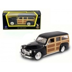 1948 Ford Woody Wagon Black 1/43 Diecast Model Car by Road Signature