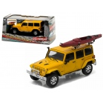2016 Jeep Wrangler Unlimited Metallic Yellow with Winch, Snorkel, and Kayak With Display Showcase 1/43 Diecast Model Car by Greenlight