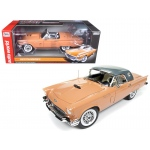 1957 Ford Thunderbird Convertible Coral Sand with Silver Roof 60th Anniversary Limited Edition to 252pcs 1/18 Diecast Model Car by Autoworld