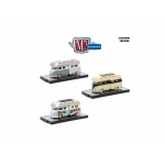 Auto Thentics 3 Cars Set 1959 Volkswagen Double Cab with Campers USA Models  IN DISPLAY CASES 1/64 Diecast Model Cars by M2 Machines