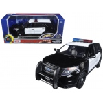 2015 Ford Police Interceptor Utility Black and White with Flashing Light Bar, Front and Rear Lights and 2 Sounds 1/24 Diecast Model Car by Motormax