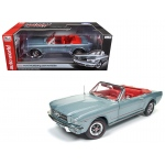 1965 Ford Mustang Convertible Silver Smoke Gray Limited Edition to 1002pcs 1/18 Diecast Model Car by Autoworld