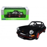 1973 Porsche 911 Carrera RS Black with Red Stripes 1/18 Diecast Model Car by Welly