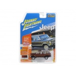 "1981 Jeep Wagoneer Vintage Red Poly ""Classic Gold"" 1/64 Diecast Model Car by Johnny Lightning"