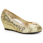 Children's Gold Glitter Princess Shoe with Heart Decor (L): Gold, Large 2/3, Everyday, Female, Child