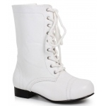 Children's White Ankle Combat Boot (XS): White, X-Small 9/10, Everyday, Unisex, Child
