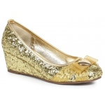 Women's Gold Glitter Princess Shoe with Heart Decor 6: Gold, 6, Everyday, Female, Adult